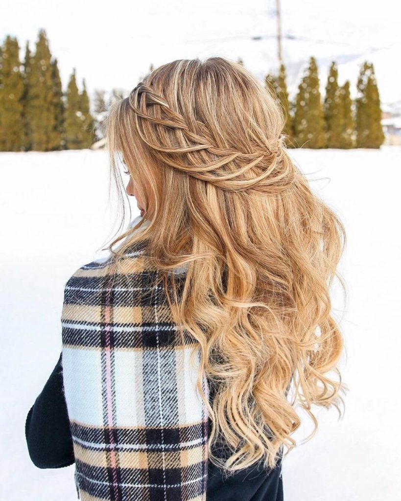 Looped Half Up Crown Braid for blonde hairstyles