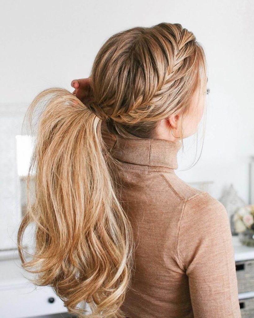 Fishtail French Braided Ponytail